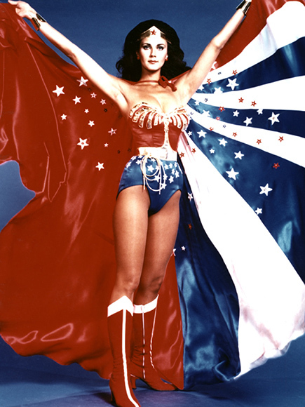 This is the poster I had hanging on my wall for years of Lynda Carter as Wonder Woman. Photo Credit: Everett Collection on People.com